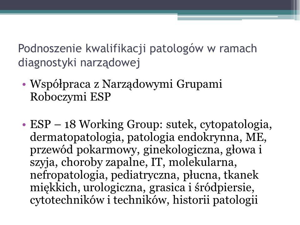 Podnoszenie kwalifikacji patologów w ramach diagnostyki narządowej Współpraca z Narządowymi Grupami Roboczymi ESP ESP – 18 Working Group: sutek, cytop