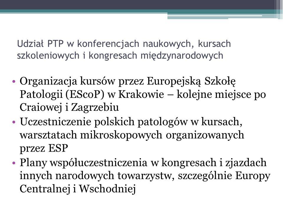 Udział PTP w konferencjach naukowych, kursach szkoleniowych i kongresach międzynarodowych Organizacja kursów przez Europejską Szkołę Patologii (EScoP)