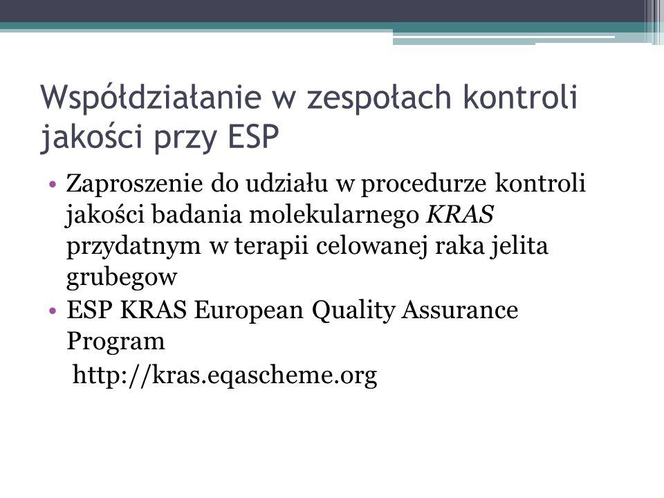 Współdziałanie w zespołach kontroli jakości przy ESP Zaproszenie do udziału w procedurze kontroli jakości badania molekularnego KRAS przydatnym w tera