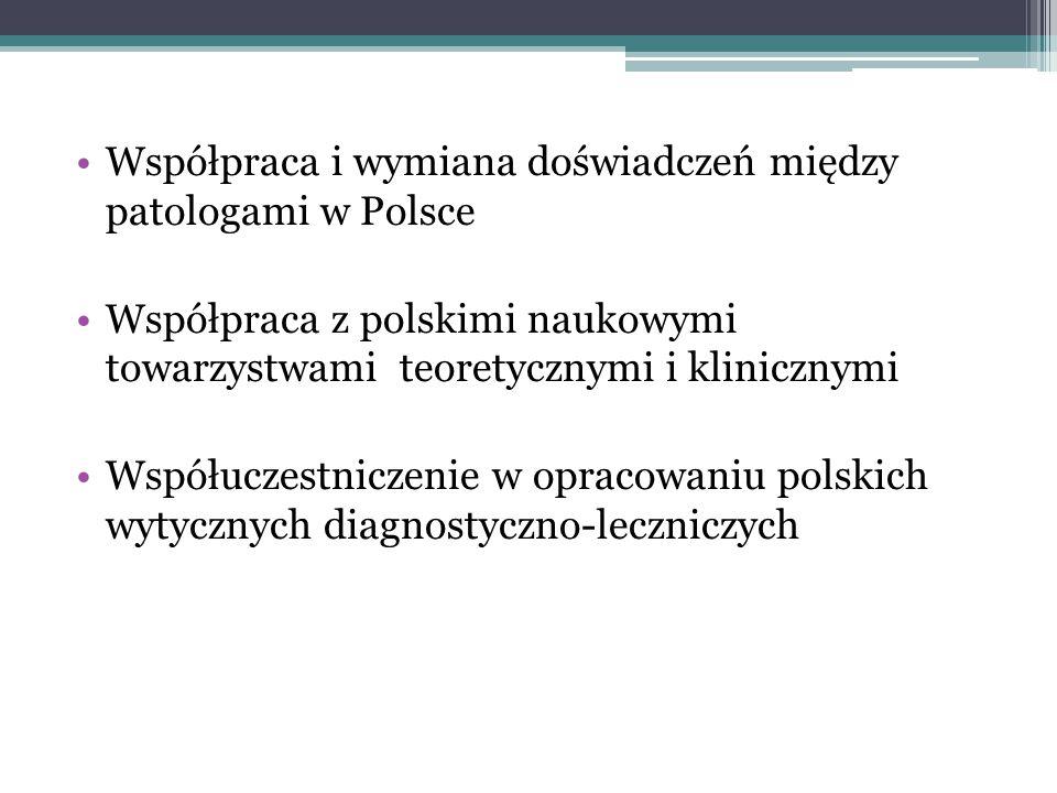 Współpraca i wymiana doświadczeń między patologami w Polsce Współpraca z polskimi naukowymi towarzystwami teoretycznymi i klinicznymi Współuczestnicze