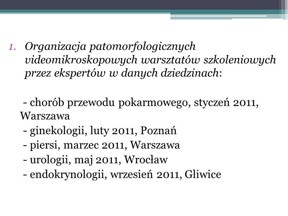1.Organizacja patomorfologicznych videomikroskopowych warsztatów szkoleniowych przez ekspertów w danych dziedzinach: - chorób przewodu pokarmowego, st