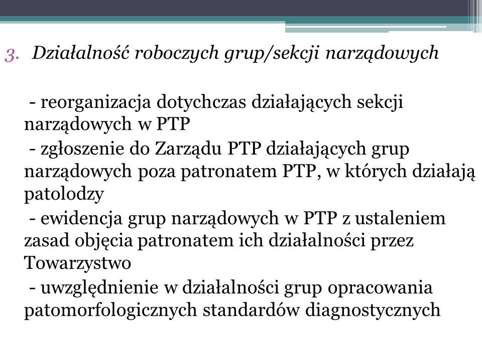 3.Działalność roboczych grup/sekcji narządowych - reorganizacja dotychczas działających sekcji narządowych w PTP - zgłoszenie do Zarządu PTP działając