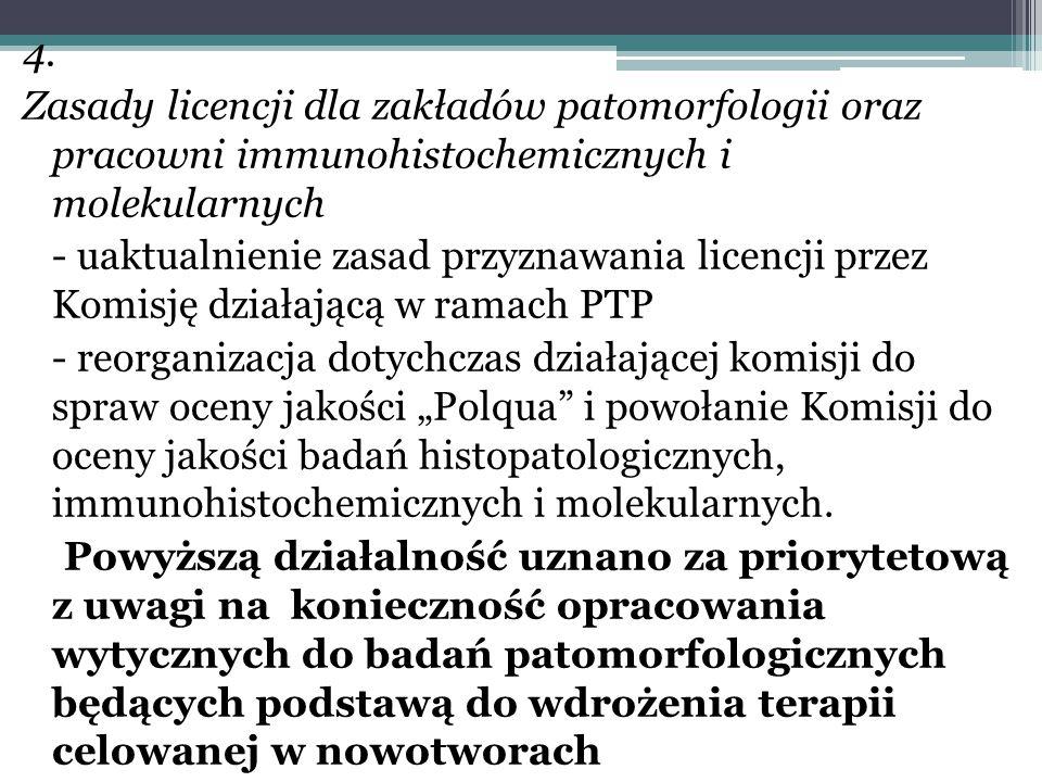 4. Zasady licencji dla zakładów patomorfologii oraz pracowni immunohistochemicznych i molekularnych - uaktualnienie zasad przyznawania licencji przez