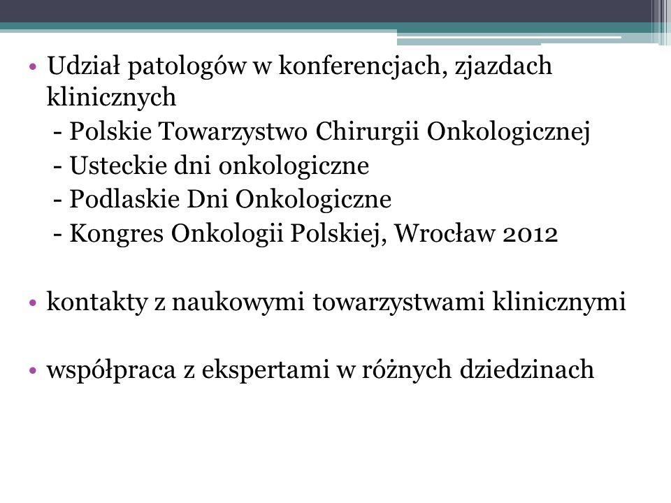 Udział patologów w konferencjach, zjazdach klinicznych - Polskie Towarzystwo Chirurgii Onkologicznej - Usteckie dni onkologiczne - Podlaskie Dni Onkol