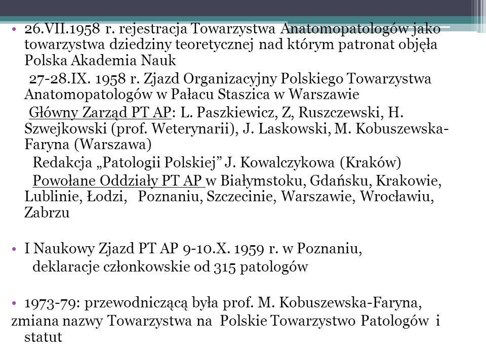 26.VII.1958 r. rejestracja Towarzystwa Anatomopatologów jako towarzystwa dziedziny teoretycznej nad którym patronat objęła Polska Akademia Nauk 27-28.