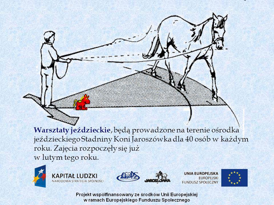 Warsztaty jeździeckie, będą prowadzone na terenie ośrodka jeździeckiego Stadniny Koni Jaroszówka dla 40 osób w każdym roku. Zajęcia rozpoczęły się już