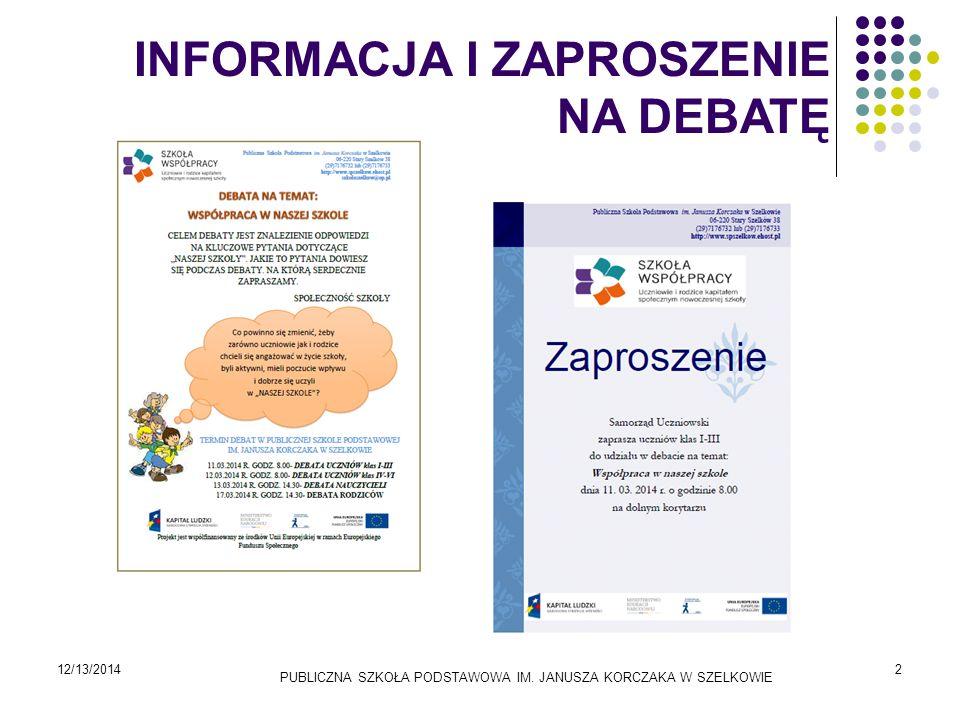 Pierwsze kroki w debacie 12/13/2014PUBLICZNA SZKOŁA PODSTAWOWA IM. JANUSZA KORCZAKA W SZELKOWIE3
