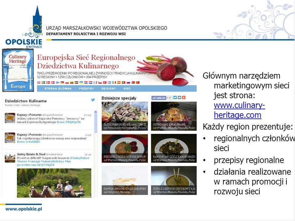 Głównym narzędziem marketingowym sieci jest strona: www.culinary- heritage.com www.culinary- heritage.com Każdy region prezentuje: regionalnych członk