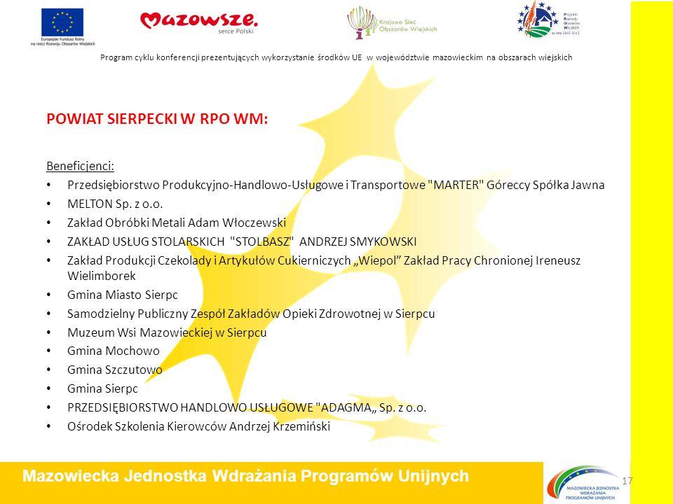 POWIAT SIERPECKI W RPO WM: Beneficjenci: Przedsiębiorstwo Produkcyjno-Handlowo-Usługowe i Transportowe MARTER Góreccy Spółka Jawna MELTON Sp.