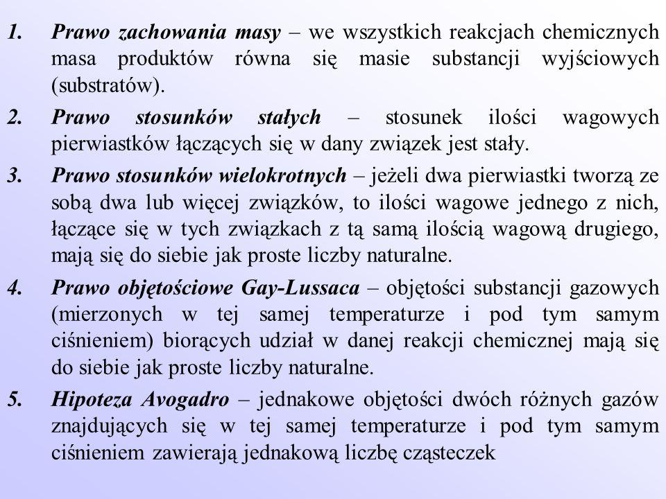 1.Prawo zachowania masy – we wszystkich reakcjach chemicznych masa produktów równa się masie substancji wyjściowych (substratów). 2.Prawo stosunków st