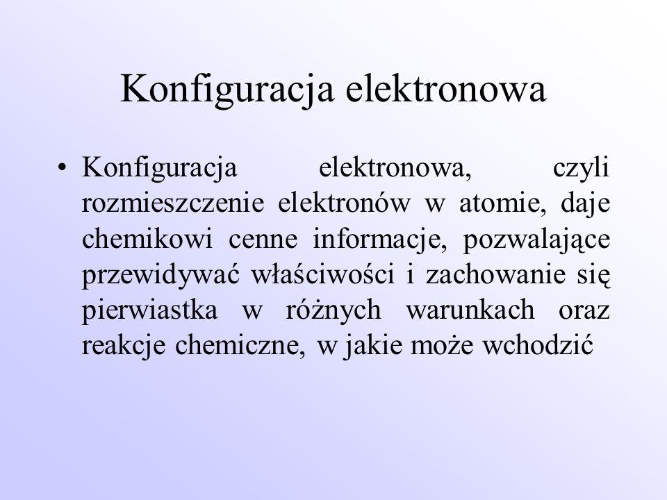 Konfiguracja elektronowa Konfiguracja elektronowa, czyli rozmieszczenie elektronów w atomie, daje chemikowi cenne informacje, pozwalające przewidywać