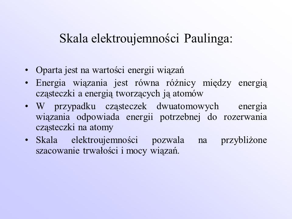 Skala elektroujemności Paulinga: Oparta jest na wartości energii wiązań Energia wiązania jest równa różnicy między energią cząsteczki a energią tworzą