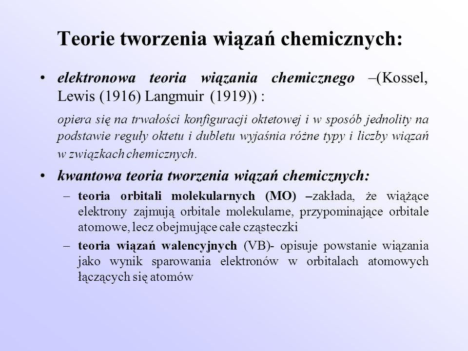 Teorie tworzenia wiązań chemicznych: elektronowa teoria wiązania chemicznego –(Kossel, Lewis (1916) Langmuir (1919)) : opiera się na trwałości konfigu