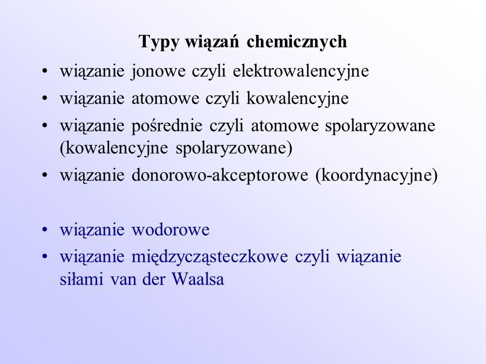 Typy wiązań chemicznych wiązanie jonowe czyli elektrowalencyjne wiązanie atomowe czyli kowalencyjne wiązanie pośrednie czyli atomowe spolaryzowane (ko