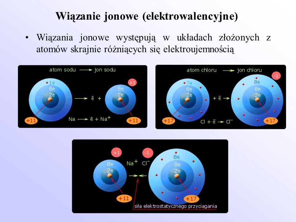Wiązanie jonowe (elektrowalencyjne) Wiązania jonowe występują w układach złożonych z atomów skrajnie różniących się elektroujemnością