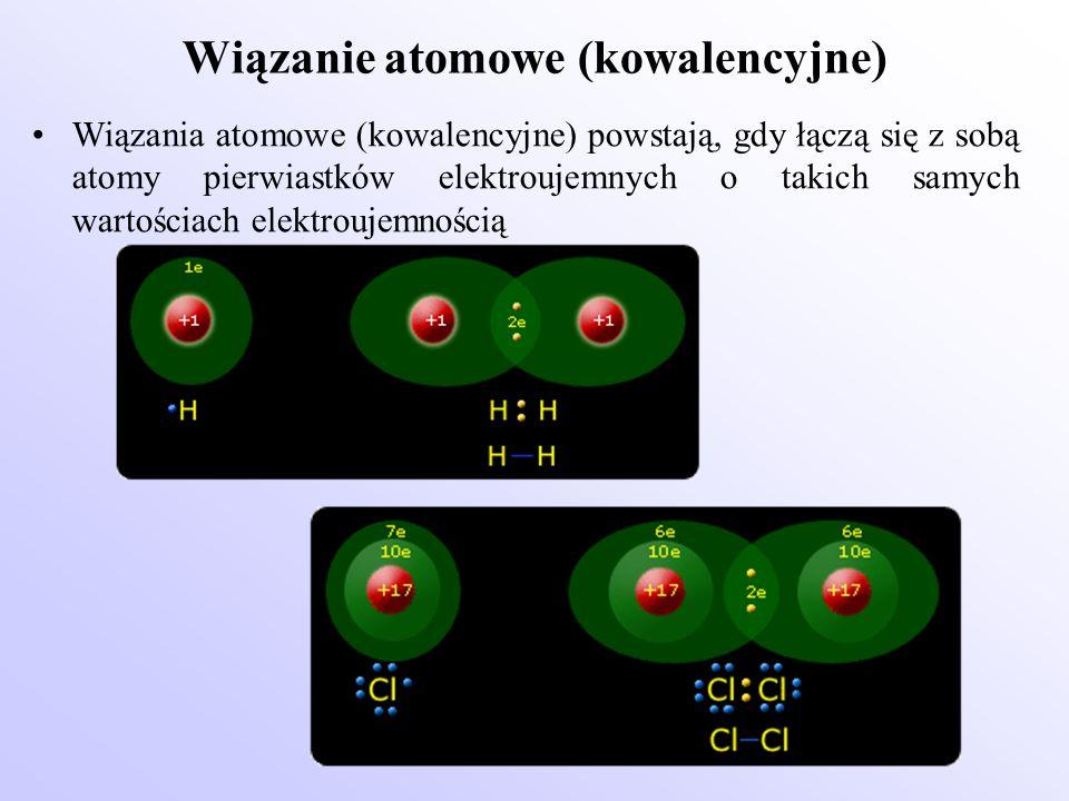Wiązanie atomowe (kowalencyjne) Wiązania atomowe (kowalencyjne) powstają, gdy łączą się z sobą atomy pierwiastków elektroujemnych o takich samych wart