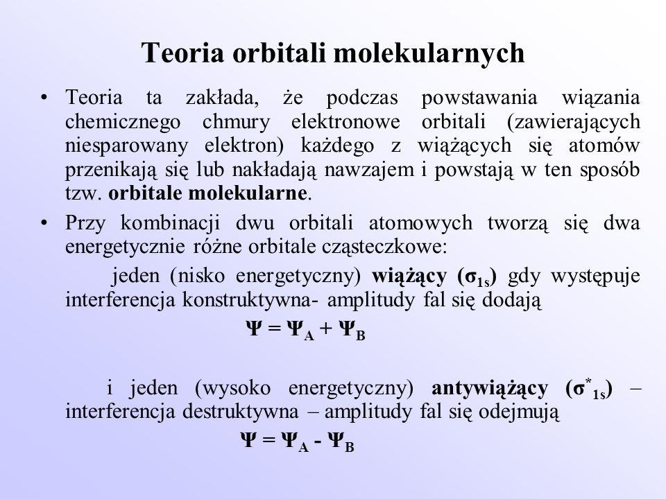 Teoria orbitali molekularnych Teoria ta zakłada, że podczas powstawania wiązania chemicznego chmury elektronowe orbitali (zawierających niesparowany e