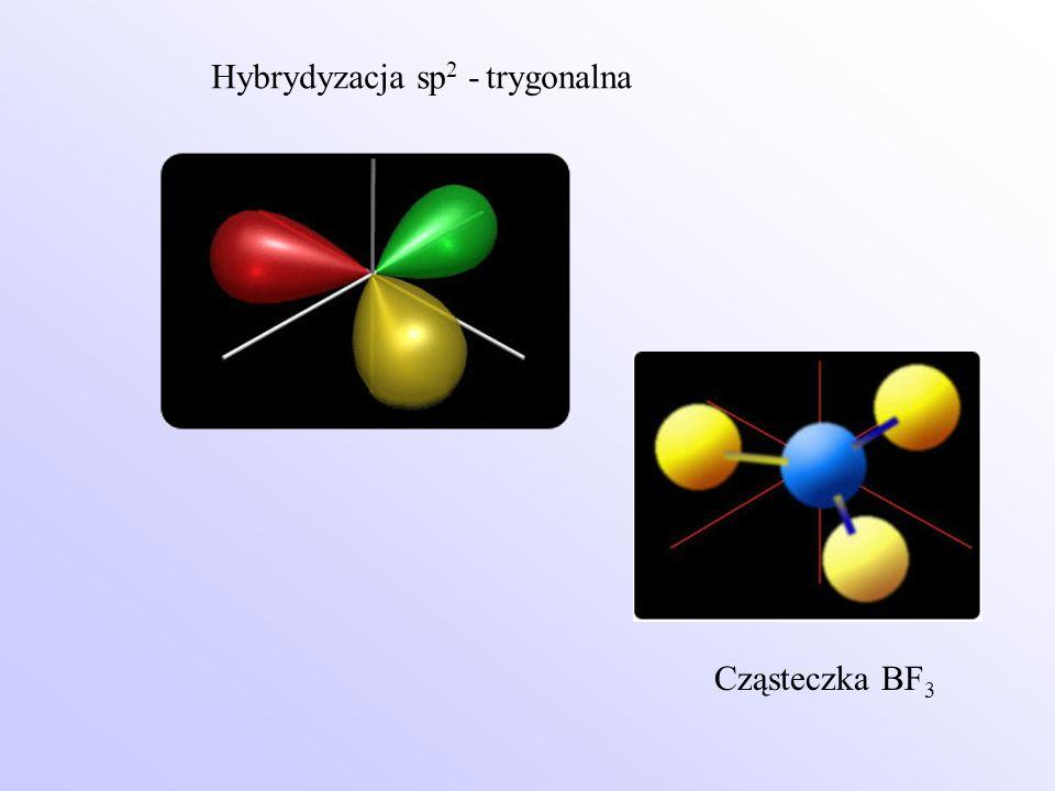 Hybrydyzacja sp 2 - trygonalna Cząsteczka BF 3