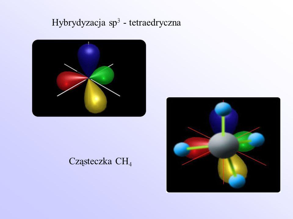 Hybrydyzacja sp 3 - tetraedryczna Cząsteczka CH 4