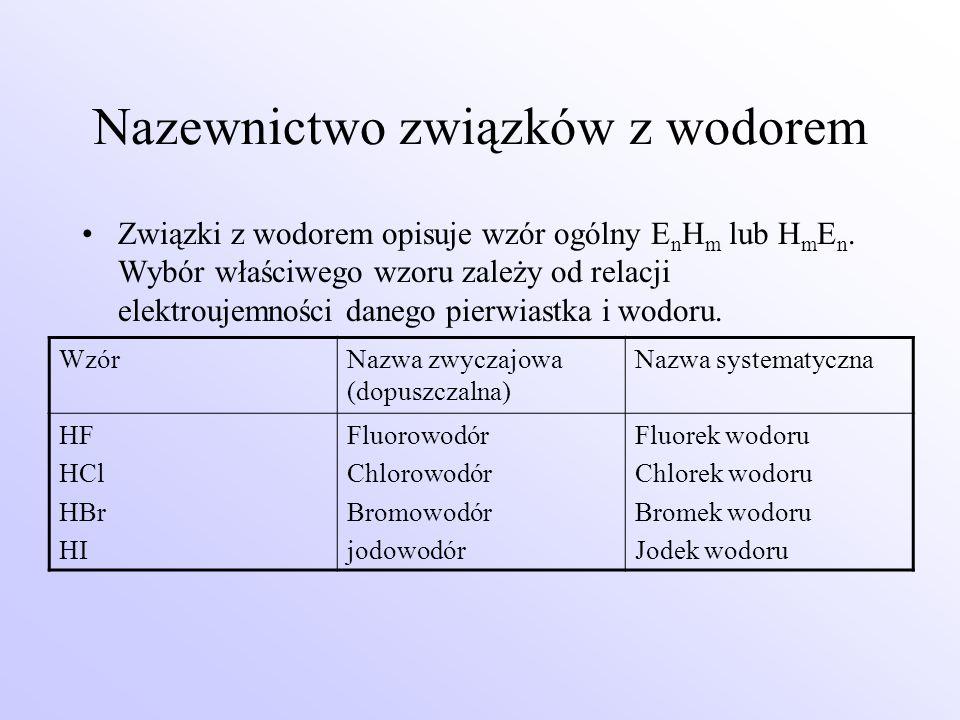 Nazewnictwo związków z wodorem Związki z wodorem opisuje wzór ogólny E n H m lub H m E n. Wybór właściwego wzoru zależy od relacji elektroujemności da