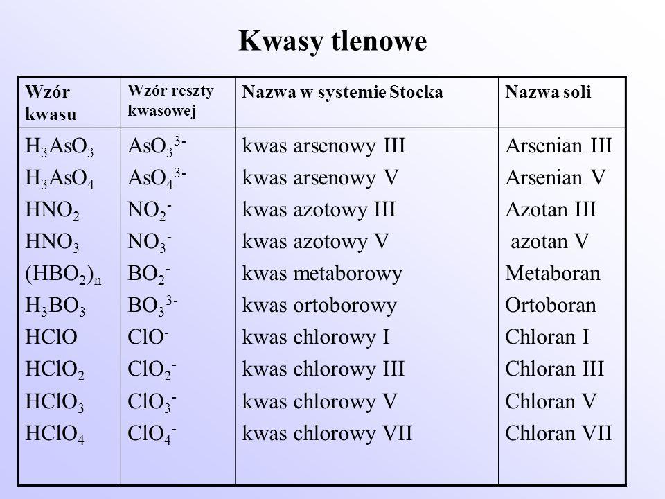 Kwasy tlenowe Wzór kwasu Wzór reszty kwasowej Nazwa w systemie StockaNazwa soli H 3 AsO 3 H 3 AsO 4 HNO 2 HNO 3 (HBO 2 ) n H 3 BO 3 HClO HClO 2 HClO 3