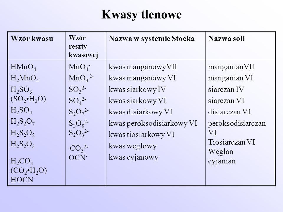 Kwasy tlenowe Wzór kwasu Wzór reszty kwasowej Nazwa w systemie StockaNazwa soli HMnO 4 H 2 MnO 4 H 2 SO 3 (SO 2 H 2 O) H 2 SO 4 H 2 S 2 O 7 H 2 S 2 O