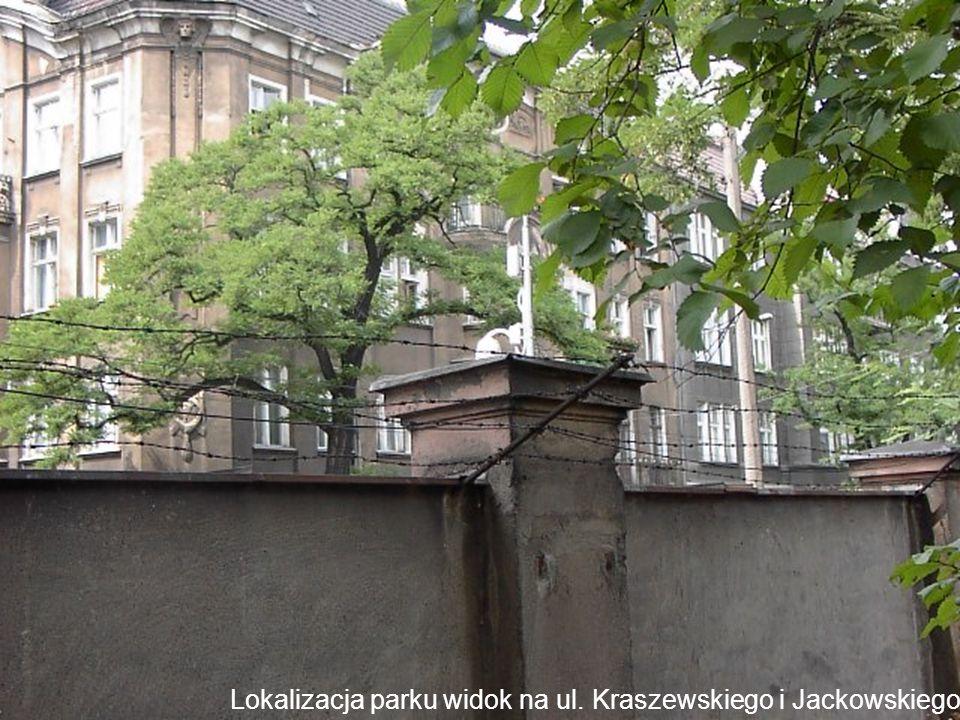 Lokalizacja parku widok na ul. Kraszewskiego i Jackowskiego