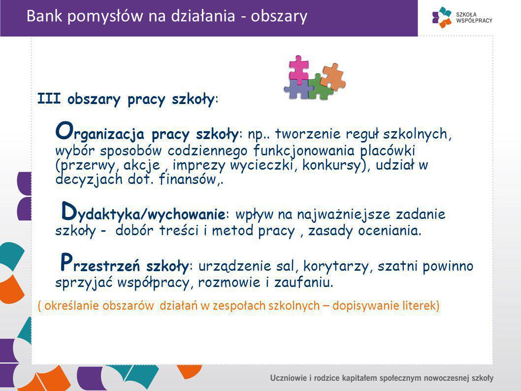 Bank pomysłów na działania - obszary III obszary pracy szkoły: O rganizacja pracy szkoły: np..