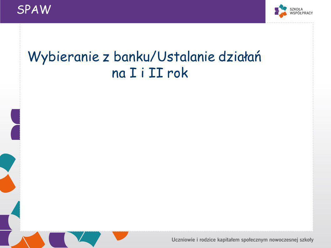 SPAW Wybieranie z banku/Ustalanie działań na I i II rok