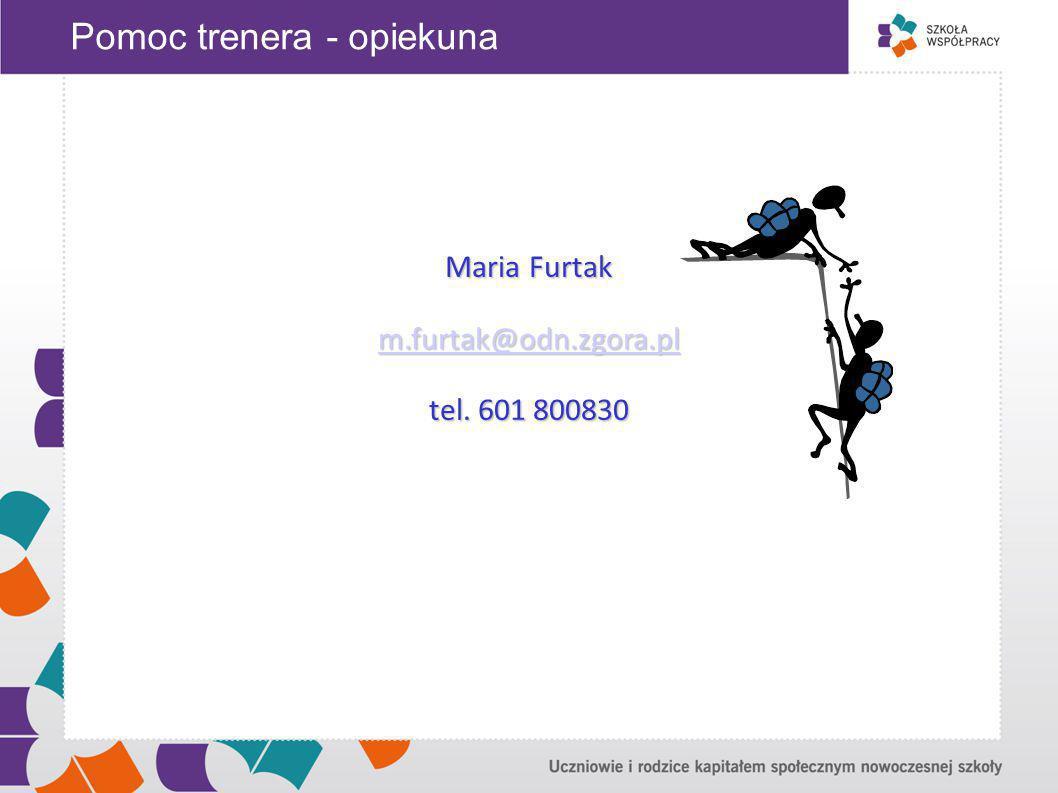 Pomoc trenera - opiekuna Maria Furtak m.furtak@odn.zgora.pl tel. 601 800830