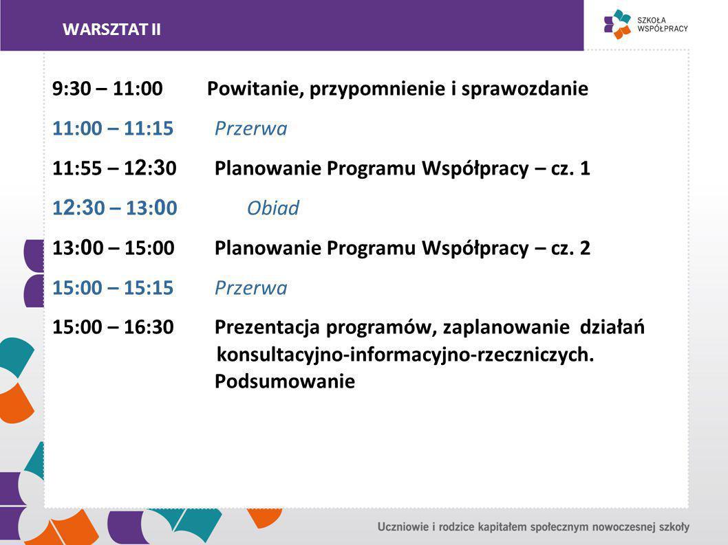 WARSZTAT II 9:30 – 11:00 Powitanie, przypomnienie i sprawozdanie 11:00 – 11:15 Przerwa 11:55 – 1 2 : 3 0 Planowanie Programu Współpracy – cz.