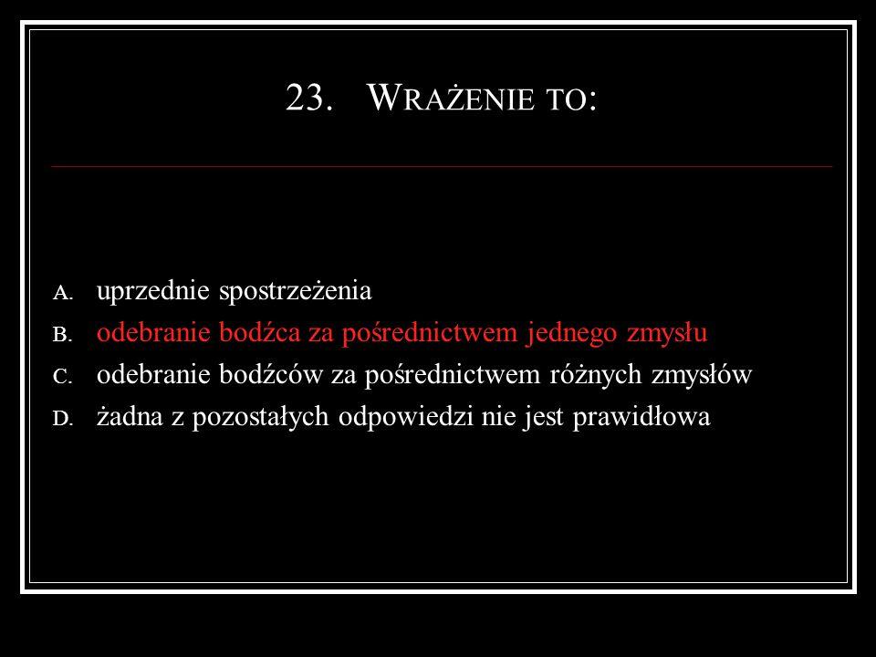 23.W RAŻENIE TO : A. uprzednie spostrzeżenia B.