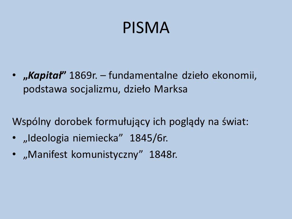 """PISMA """"Kapitał"""" 1869r. – fundamentalne dzieło ekonomii, podstawa socjalizmu, dzieło Marksa Wspólny dorobek formułujący ich poglądy na świat: """"Ideologi"""