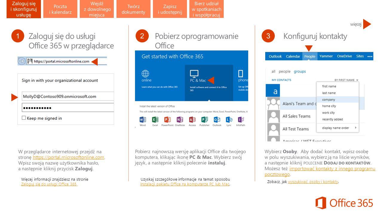 Więcej informacji znajdziesz na stronie Zaloguj się do usługi Office 365 Zaloguj się do usługi Office 365 Uzyskaj szczegółowe informacje na temat sposobu instalacji pakietu Office na komputerze PC lub Mac.