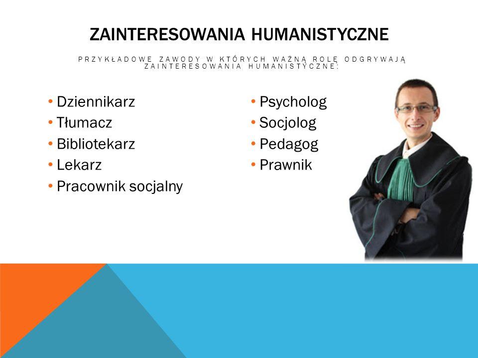 ZAINTERESOWANIA HUMANISTYCZNE PRZYKŁADOWE ZAWODY W KTÓRYCH WAŻNĄ ROLĘ ODGRYWAJĄ ZAINTERESOWANIA HUMANISTYCZNE: Dziennikarz Tłumacz Bibliotekarz Lekarz