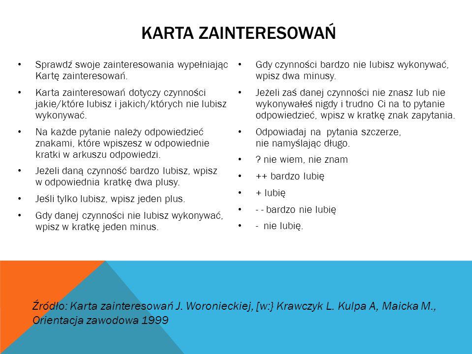 KARTA ZAINTERESOWAŃ Sprawdź swoje zainteresowania wypełniając Kartę zainteresowań. Karta zainteresowań dotyczy czynności jakie/które lubisz i jakich/k