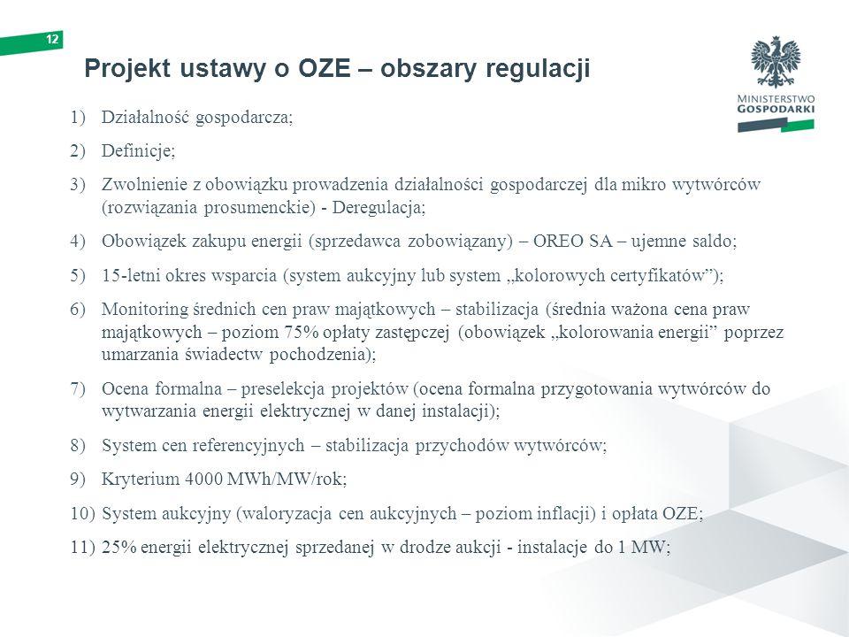 """Projekt ustawy o OZE – obszary regulacji 1)Działalność gospodarcza; 2)Definicje; 3)Zwolnienie z obowiązku prowadzenia działalności gospodarczej dla mikro wytwórców (rozwiązania prosumenckie) - Deregulacja; 4)Obowiązek zakupu energii (sprzedawca zobowiązany) – OREO SA – ujemne saldo; 5)15-letni okres wsparcia (system aukcyjny lub system """"kolorowych certyfikatów ); 6)Monitoring średnich cen praw majątkowych – stabilizacja (średnia ważona cena praw majątkowych – poziom 75% opłaty zastępczej (obowiązek """"kolorowania energii poprzez umarzania świadectw pochodzenia); 7)Ocena formalna – preselekcja projektów (ocena formalna przygotowania wytwórców do wytwarzania energii elektrycznej w danej instalacji); 8)System cen referencyjnych – stabilizacja przychodów wytwórców; 9)Kryterium 4000 MWh/MW/rok; 10)System aukcyjny (waloryzacja cen aukcyjnych – poziom inflacji) i opłata OZE; 11)25% energii elektrycznej sprzedanej w drodze aukcji - instalacje do 1 MW; 12"""