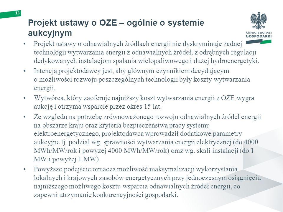 Projekt ustawy o OZE – ogólnie o systemie aukcyjnym Projekt ustawy o odnawialnych źródłach energii nie dyskryminuje żadnej technologii wytwarzania energii z odnawialnych źródeł, z odrębnych regulacji dedykowanych instalacjom spalania wielopaliwowego i dużej hydroenergetyki.