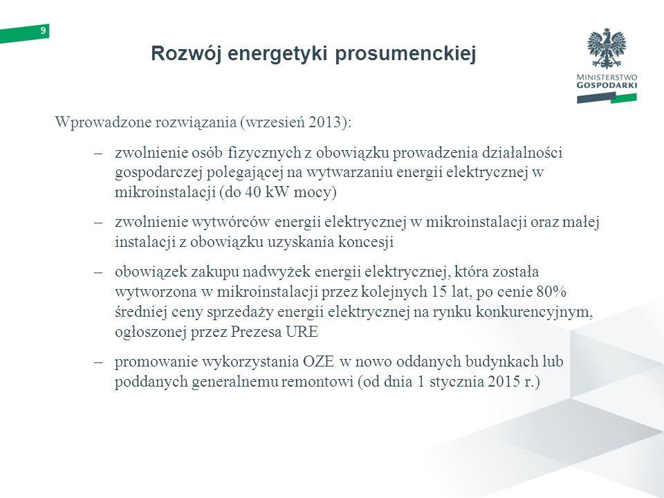 Rozwój energetyki prosumenckiej Wprowadzone rozwiązania (wrzesień 2013): –zwolnienie osób fizycznych z obowiązku prowadzenia działalności gospodarczej polegającej na wytwarzaniu energii elektrycznej w mikroinstalacji (do 40 kW mocy) –zwolnienie wytwórców energii elektrycznej w mikroinstalacji oraz małej instalacji z obowiązku uzyskania koncesji –obowiązek zakupu nadwyżek energii elektrycznej, która została wytworzona w mikroinstalacji przez kolejnych 15 lat, po cenie 80% średniej ceny sprzedaży energii elektrycznej na rynku konkurencyjnym, ogłoszonej przez Prezesa URE –promowanie wykorzystania OZE w nowo oddanych budynkach lub poddanych generalnemu remontowi (od dnia 1 stycznia 2015 r.) 9