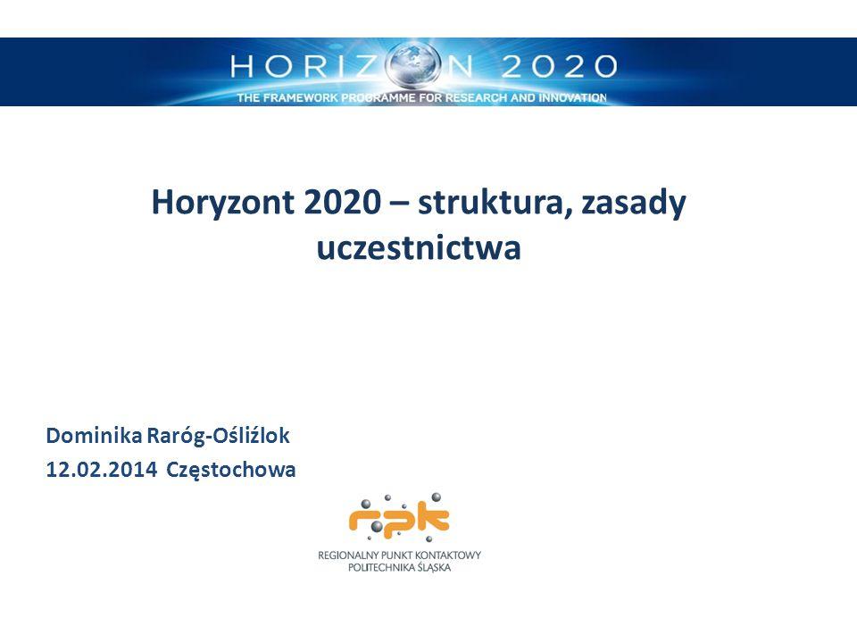 Horyzont 2020 – struktura, zasady uczestnictwa Dominika Raróg-Ośliźlok 12.02.2014 Częstochowa