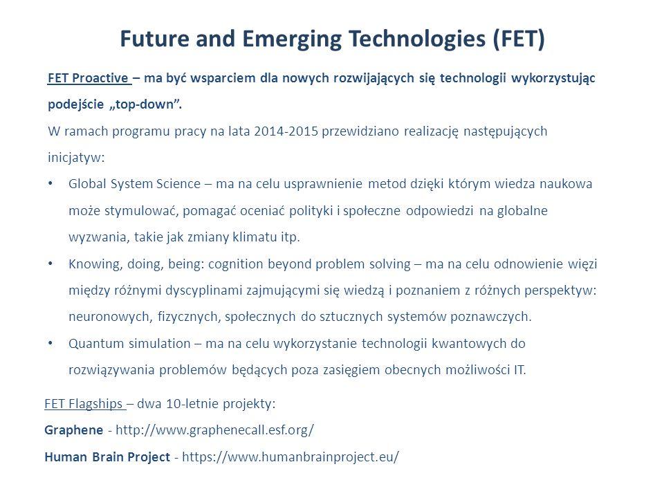 """Future and Emerging Technologies (FET) FET Proactive – ma być wsparciem dla nowych rozwijających się technologii wykorzystując podejście """"top-down"""". W"""