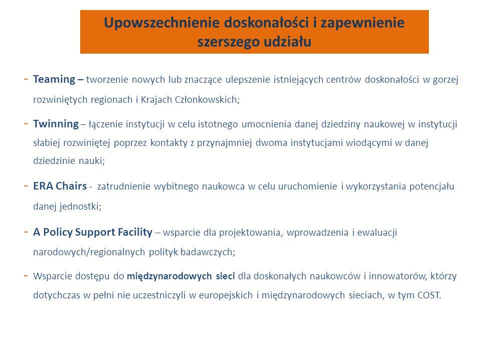 - Teaming – tworzenie nowych lub znaczące ulepszenie istniejących centrów doskonałości w gorzej rozwiniętych regionach i Krajach Członkowskich; - Twin