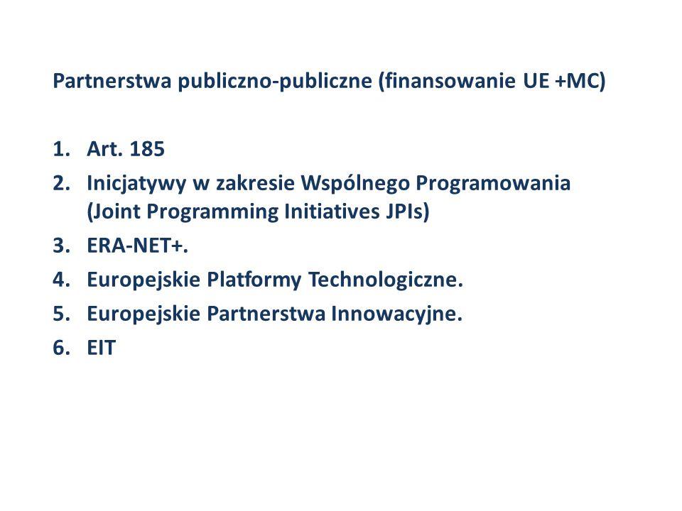 Partnerstwa publiczno-publiczne (finansowanie UE +MC) 1.Art. 185 2.Inicjatywy w zakresie Wspólnego Programowania (Joint Programming Initiatives JPIs)