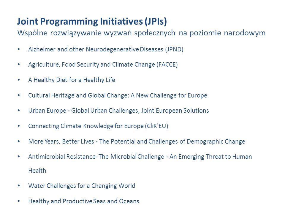 Joint Programming Initiatives (JPIs) Wspólne rozwiązywanie wyzwań społecznych na poziomie narodowym Alzheimer and other Neurodegenerative Diseases (JP
