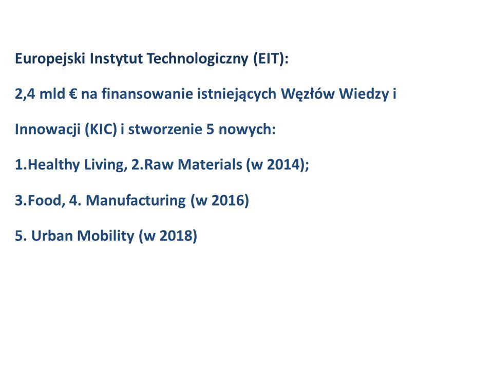 Europejski Instytut Technologiczny (EIT): 2,4 mld € na finansowanie istniejących Węzłów Wiedzy i Innowacji (KIC) i stworzenie 5 nowych: 1.Healthy Livi