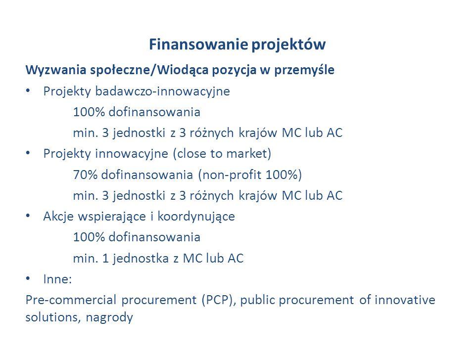 Finansowanie projektów Wyzwania społeczne/Wiodąca pozycja w przemyśle Projekty badawczo-innowacyjne 100% dofinansowania min. 3 jednostki z 3 różnych k