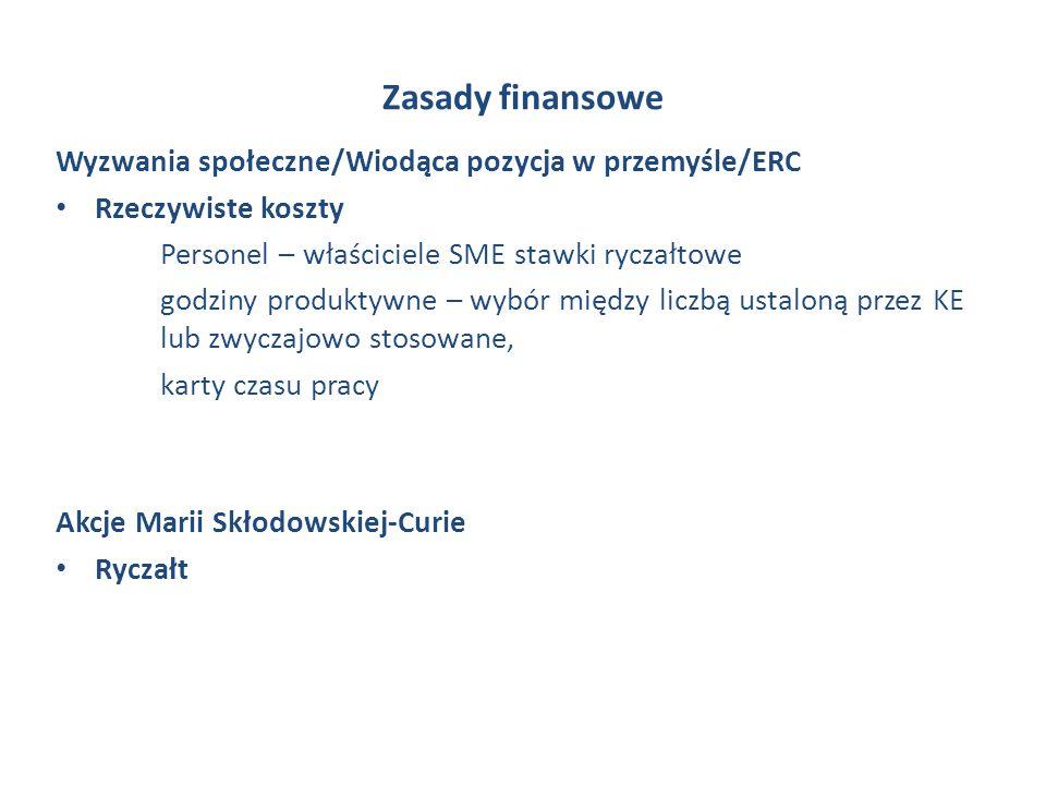 Zasady finansowe Wyzwania społeczne/Wiodąca pozycja w przemyśle/ERC Rzeczywiste koszty Personel – właściciele SME stawki ryczałtowe godziny produktywn