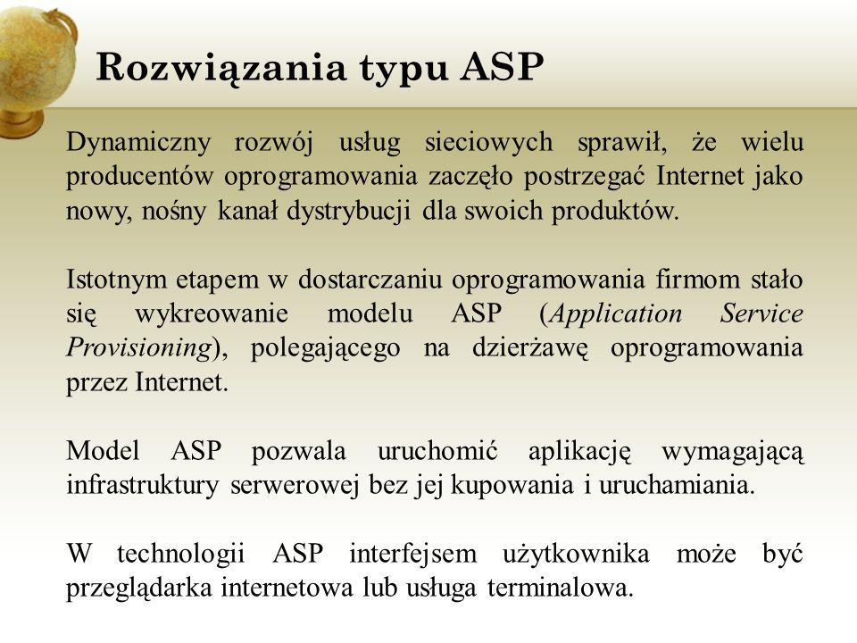 Rozwiązania typu ASP Dynamiczny rozwój usług sieciowych sprawił, że wielu producentów oprogramowania zaczęło postrzegać Internet jako nowy, nośny kana