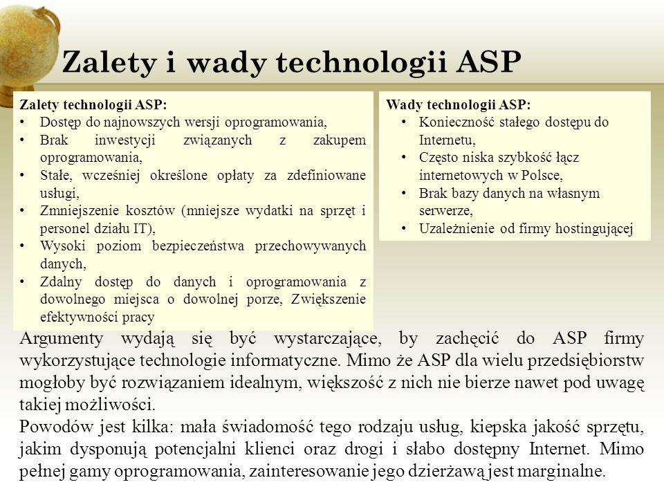 Zalety i wady technologii ASP Argumenty wydają się być wystarczające, by zachęcić do ASP firmy wykorzystujące technologie informatyczne. Mimo że ASP d