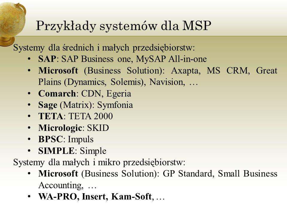 Przykłady systemów dla MSP Systemy dla średnich i małych przedsiębiorstw: SAP: SAP Business one, MySAP All-in-one Microsoft (Business Solution): Axapt